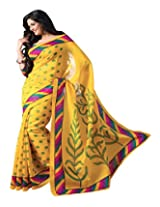 SAREE LAXMI Women's Georgette Saree (Yellow)