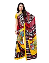 Ambaji Black & Yellow Coloured Heavy Dani Georgette Printed Saree