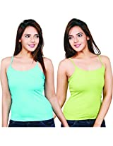 Clifton Women's Camisole's Pack of 2 Pieces - Aqua Blue-Parrot Green - XX-Large