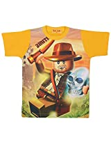 Tick Lish Boys Cotton Blend T-Shirt (Gold)