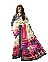 Cream Colour Faux Bhagalpuri Semi Party Wear Geometric Printed Saree 13347