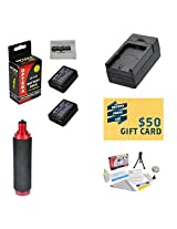 Extended Life Replacement Battery Packs For the Canon LP-E10 LPE10 2000MAH Each 4000MAH in Total For The Canon EOS Rebel T3 1100D Kiss X50 DSLR Cameras + 1 hour AC/DC Rapid Battery Charger For The Canon EOS Rebel T3 + Bonus Opteka HG-1 Handgrip + Deluxe Lens Cleaning Kit + LCD Screen Protectors + Mini Tripod + 47stphoto Microfiber Cloth + $50 Photo Print Gift Card!