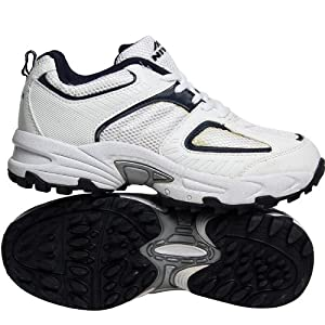 Classic Black & White Solid Auckland Cricket Sports Shoes - Size 6 by Nivia