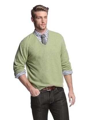 Oxxford Men's V-Neck Sweater (Green)