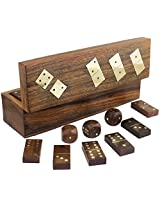 "Royaltylane Handmade Wooden Dominoes Set And Five Dice In Game Storage Box - With Playing Instructions - 8"" X 2.2"" X 2.4"""
