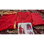 Red embroided Georgette Dress Material With Dupatta