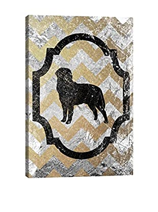 Rottweiler Gray & Yellow Gallery Wrapped Canvas Print