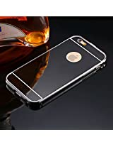TMG Aluminum Metal Bumper Mirror Back Case Cover For iPhone 6 Plus 5.5 inch Luxury Frame Ultra Black