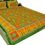 Shop Rajasthan cotton Double bedsheet with two pillow covers -Multicolor- SRA2376
