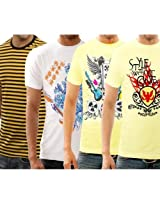 Funktees Best price Cotton Mens Round Neck L Size T-shirt - Pack of 4