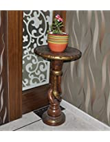 Wooden Side Table & Round Carved Handcrafted Table 30 X 18 X 18 Inches