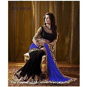 Designer Royal Black & Blue Half & Half Saree