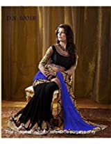 Designer Royal Black & Blue Half & Half Saree