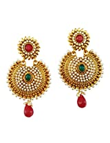 Lalso Designer Gold Plated Preety Maroon Green Earrings for Wedding, Gift - LAE34MG