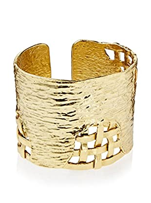 Karine Sultan Jewelry Oxidized Gold Hammered Cuff With Basket Weave Design