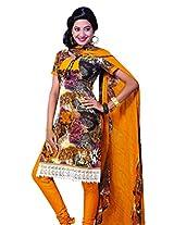 Anvi Creations Multi Mustard Spun Cotton Dress Meterial (Multi Mustard_Free Size)