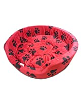 Dog Bed Smart and Cozy in Red Color with Black Paws Design for Medium and Large Size Dog