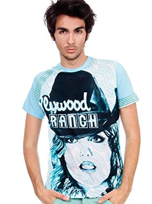 Custo T-Shirt Kubrik Plywood (Blau)
