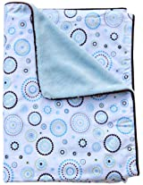 Caden Lane Classic Collection Circle Dot Piped Blanket, Blue