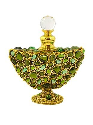 Hand-Set Crystal Crescent Perfume Bottle (Green)