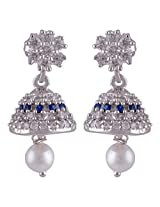 Silver Prince 6.7 Grm Pearl, White Cubic Zirconia, Blue Cubic Zirconia Bestseller 925 Silver Earrings