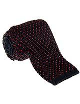 "Retreez Casual V Heart Shape Pattern Men's 2.4"" Skinny Knit Tie - Black with Red"