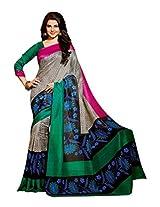 Brijraj Jennifer Winget, Gray Multi Bhagalpuri silk Beautifull Printed Saree Wih Unstitch Blouse