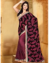 Printed Pink & Black Casual Wear Saree
