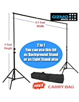 Heavy Duty 9 Feet height Photography/ Filming Backdrop Stand Back Screen Support System, 2 in 1 KIT: Background Stand cum Light Stand for Studio or On-Site Use [ GizmoGrid ]