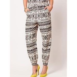 Aztec Print Elastic Cuff Trouser