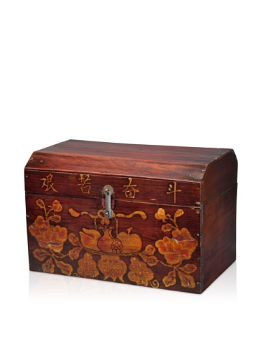 Antique Revival Chinese Trunk, Natural Pine
