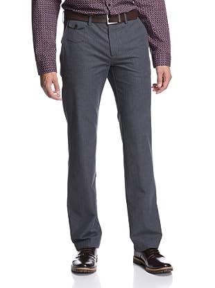 Façonnable Men's Flat Front Herringbone Pant (Grey)