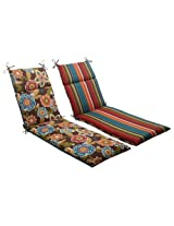 Pillow Perfect Indoor/Outdoor Annie Westport Reversible Chaise Lounge Cushion, Chocolate