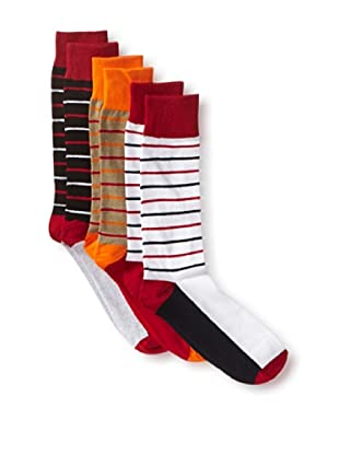 English Laundry Men's Colorful Stripes - 3 Pack Socks (Assorted)