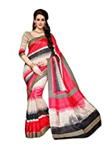 Red Colour Faux Bhagalpuri Semi Party Wear Shiny Geometric Printed Saree 13336