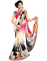 Shree Bahuchar Creation Women's Chiffon Saree(Skb42, Pink and Black)