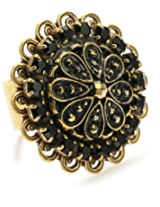 """Liz Palacios """"Piedras"""" Swarovski Crystal and Marcasite Gold-Plated Button Ring, Size 7"""