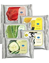 GINNI Refreshing Facial Wipes (Rose,Aloevera,Cucumber,Lemon,Antiacne) (pack of 5) (10 wipes per pack)