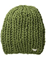 Neff Women's Cara Textured Beanie with Oversized Yarn, Olive, One Size