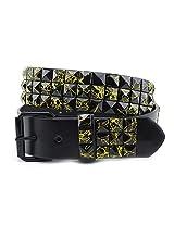 NYfashion101 Punk Style Pyramid Stud Belt Black w/Splash Accents (Small, Yellow Splash)