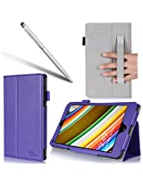i-BLASON Lenovo Thinkpad 8 Case - For 8.3 Inch Tablet Leather Book Cover (Elastic Hand Strap, Multi-Angle, Card Holder) With Bonus Stylus 3 Year Warranty (Lenovo Thinkpad 8, Purple)