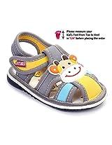 Cute Walk Baby Sandal Velcro Closure - Cow Face Applique