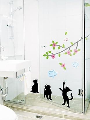 Vinilo Adhesivos flores y gatos negros Multicolores