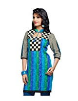 Karishma Suit - FREE Maybelline Colossal Kajal MRP 199 - s Bluish-Green Printed Pure Cotton jacquard ï¿1/2 Unstitched Kurti Fabric For Women | KLVPG19
