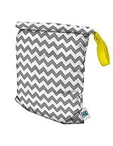 Planet Wise Roll Down Wet Diaper Bag, Gray Chevron, Medium