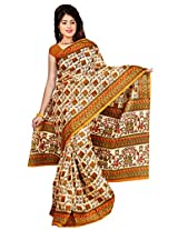 Somya Women's Bhagalpuri Silk Printed Yellow Saree