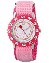 Red Balloon Kids W000175 Time Teacher Stainless Steel Watch with Pink Nylon Strap