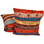 Fine Patchwork Handmade Cushion Cover 2 Pc. Set Cotton Cushion Cover