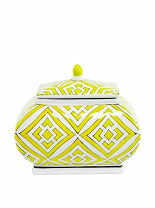 The Import Collection Minette Lidded Ceramic Box, Yellow/White