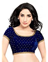 Leranath Fashion House Womens Velvet Ready made indain sadi Blouse and Choli Blue (Size 38inch to 40inch)